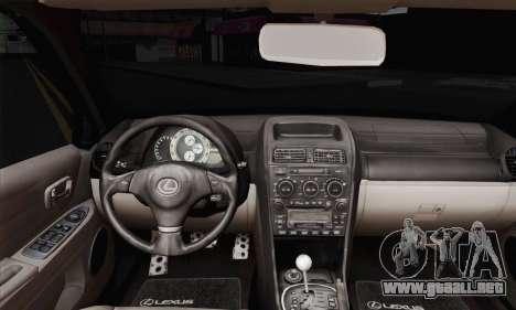 Lexus IS300 Hellaflush para GTA San Andreas vista posterior izquierda