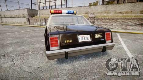 Ford LTD Crown Victoria 1987 LAPD [ELS] para GTA 4 Vista posterior izquierda