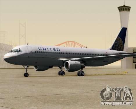 Airbus A320-232 United Airlines para la vista superior GTA San Andreas