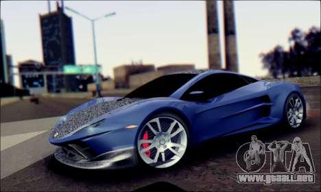 Shimmy Python 2012 para GTA San Andreas vista posterior izquierda