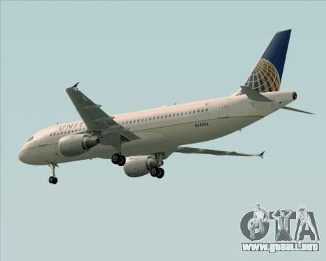 Airbus A320-232 United Airlines para vista lateral GTA San Andreas