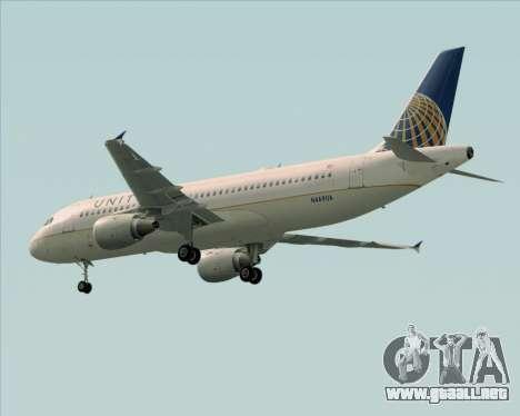 Airbus A320-232 United Airlines para vista lateral GTA San Andreas