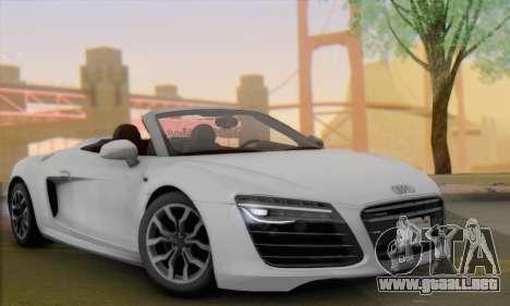 Audi R8 V10 Spyder 2014 para GTA San Andreas vista posterior izquierda