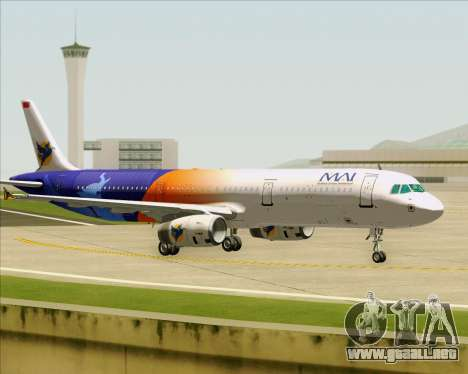 Airbus A321-200 Myanmar Airways International para GTA San Andreas vista hacia atrás