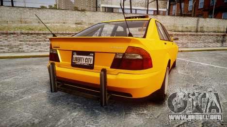 Karin Sultan Taxi para GTA 4 Vista posterior izquierda