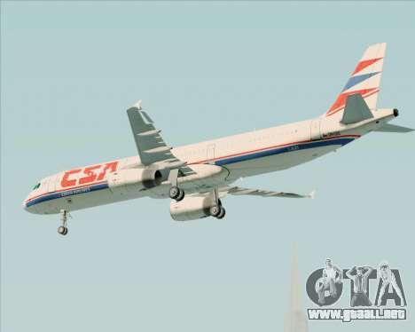 Airbus A321-200 CSA Czech Airlines para vista inferior GTA San Andreas