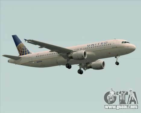 Airbus A320-232 United Airlines para GTA San Andreas left
