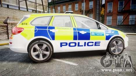 Vauxhall Astra Estate Metropolitan Police [ELS] para GTA 4 left