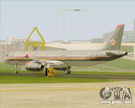Airbus A321-200 Royal Jordanian Airlines para vista lateral GTA San Andreas