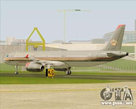 Airbus A321-200 Royal Jordanian Airlines para vista lateral GTA San Andreas