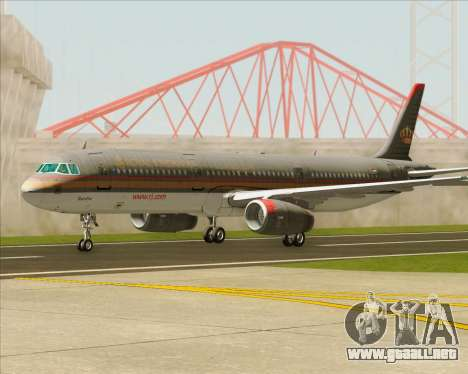 Airbus A321-200 Royal Jordanian Airlines para vista inferior GTA San Andreas