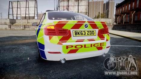 BMW 335i 2013 Central Motorway Police [ELS] para GTA 4 Vista posterior izquierda