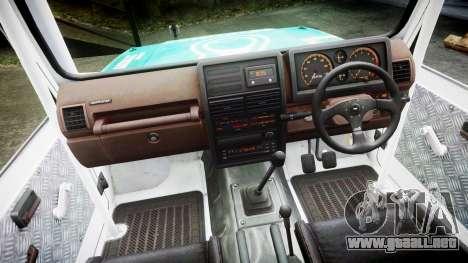 Suzuki Samurai para GTA 4 vista hacia atrás