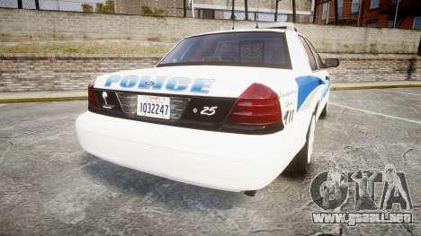 Ford Crown Victoria PS Police [ELS] para GTA 4 Vista posterior izquierda