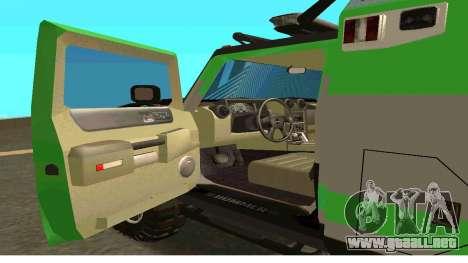 Hummer H2 Ratchet Transformers 4 para GTA San Andreas vista posterior izquierda