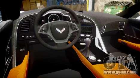 Chevrolet Corvette Z06 2015 TireKHU para GTA 4 vista interior