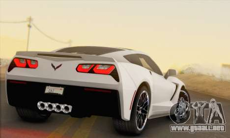 Chevrolet Corvette Stingray C7 2014 para GTA San Andreas vista posterior izquierda
