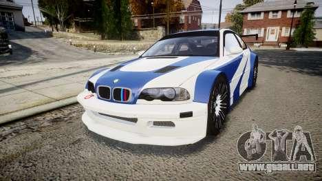 BMW M3 E46 GTR Most Wanted plate NFS ND 4 SPD para GTA 4