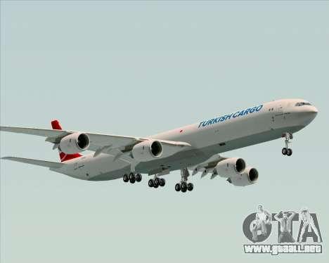 Airbus A340-600 Turkish Cargo para GTA San Andreas vista posterior izquierda
