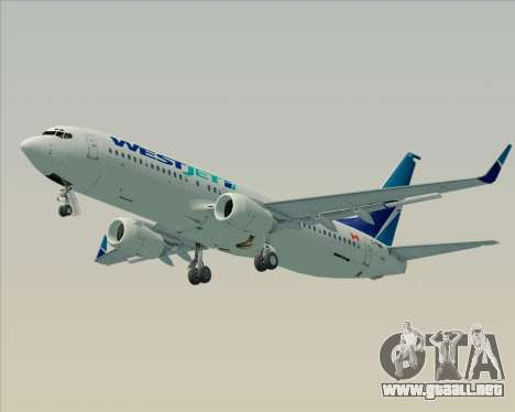 Boeing 737-800 WestJet Airlines para GTA San Andreas vista posterior izquierda