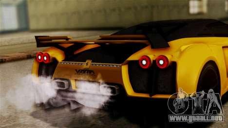 Ferrari Velocita 2013 SA Plate para GTA San Andreas vista hacia atrás