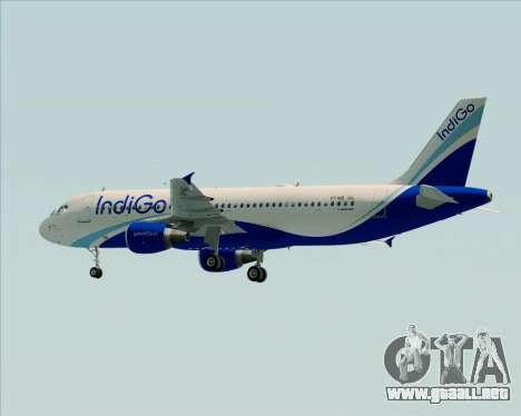 Airbus A320-200 IndiGo para GTA San Andreas vista hacia atrás