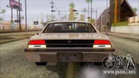 GTA 5 Vigero para GTA San Andreas vista posterior izquierda