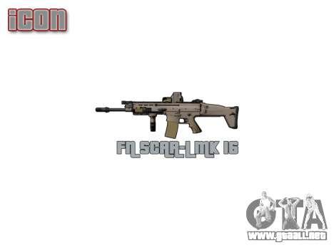 Máquina FN CICATRIZ-L Mc 16 de destino icon3 para GTA 4 adelante de pantalla