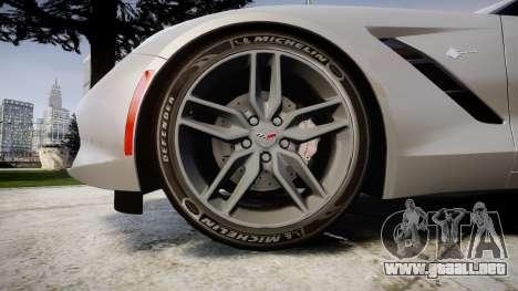 Chevrolet Corvette C7 Stingray 2014 v2.0 TireMi2 para GTA 4 vista hacia atrás