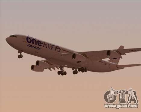 Airbus A340-300 Finnair (Oneworld Livery) para visión interna GTA San Andreas