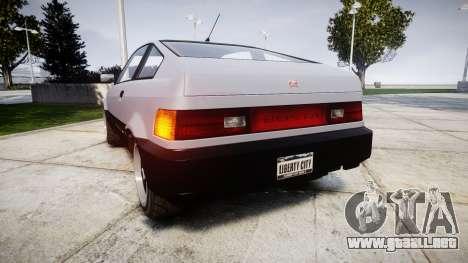 Dinka Blista Compact Sport para GTA 4 Vista posterior izquierda