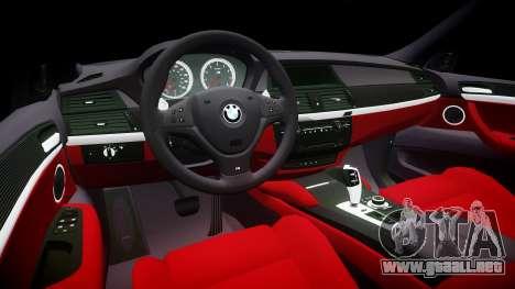 BMW X6M rims1 para GTA 4 vista interior