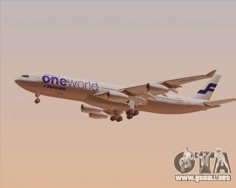Airbus A340-300 Finnair (Oneworld Livery) para GTA San Andreas vista posterior izquierda