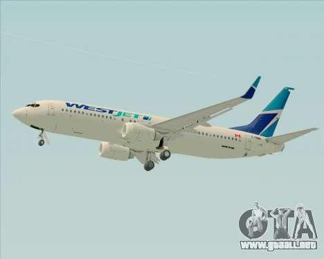 Boeing 737-800 WestJet Airlines para la vista superior GTA San Andreas