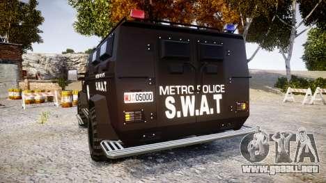 SWAT Van Metro Police [ELS] para GTA 4 Vista posterior izquierda