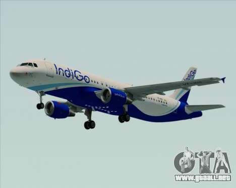 Airbus A320-200 IndiGo para GTA San Andreas vista posterior izquierda