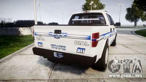 Ford F-150 [ELS] Liberty County Sheriff para GTA 4 Vista posterior izquierda