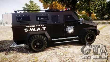SWAT Van Metro Police para GTA 4 left