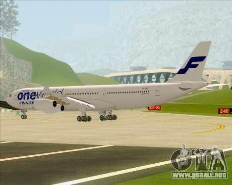Airbus A340-300 Finnair (Oneworld Livery) para GTA San Andreas vista hacia atrás