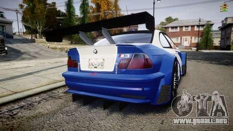BMW M3 E46 GTR Most Wanted plate NFS ND 4 SPD para GTA 4 Vista posterior izquierda