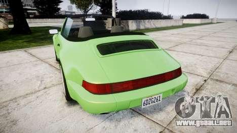 Porsche 911 (964) Cabrio para GTA 4 Vista posterior izquierda
