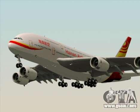 Airbus A380-800 Hainan Airlines para GTA San Andreas vista posterior izquierda