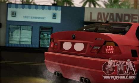 BMW M3 Coupe Tuned Version Burnout para GTA San Andreas vista posterior izquierda