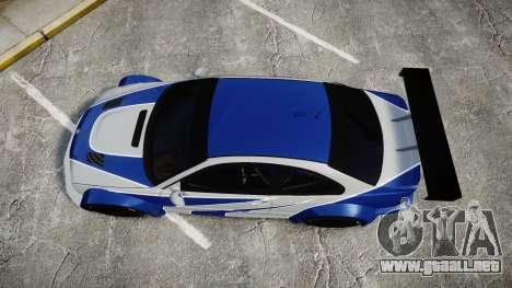 BMW M3 E46 GTR Most Wanted plate NFS MW para GTA 4 visión correcta