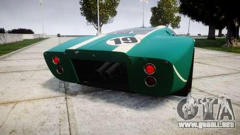 Ford GT40 Mark IV 1967 PJ Schila Racing 19 para GTA 4 Vista posterior izquierda