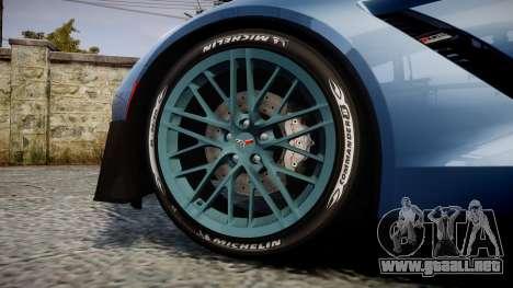 Chevrolet Corvette Z06 2015 TireMi1 para GTA 4 vista hacia atrás