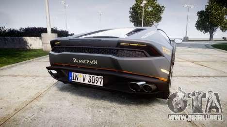 Lamborghini Huracan LP 610-4 2015 Blancpain para GTA 4 Vista posterior izquierda