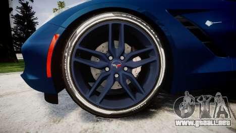 Chevrolet Corvette C7 Stingray 2014 v2.0 TirePi1 para GTA 4 vista hacia atrás