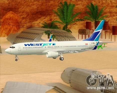Boeing 737-800 WestJet Airlines para las ruedas de GTA San Andreas