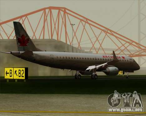 Embraer E-190 Air Canada para vista lateral GTA San Andreas